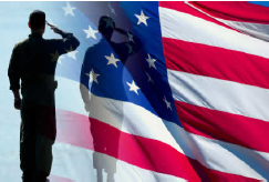 Military service member saluting the U.S. flag