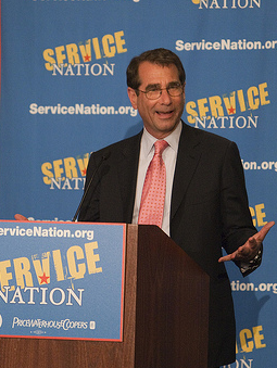 Solomont speaking at the Service Nation luncheon in June, <br>photo by Be the Change Inc