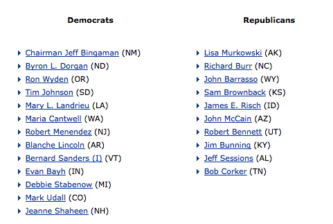Senate Energy + Natural Resources Committee Members
